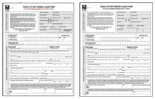 Texas Lottery Winner Claim Form